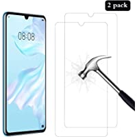[2 Pack] AhaSky Huawei P30 Screen Protector, Glass Screen Protector, [Anti-Scratch] [Anti-Bubble] [Anti-Glare] [Support Screen Fingerprint] Tempered Glass for Huawei P30