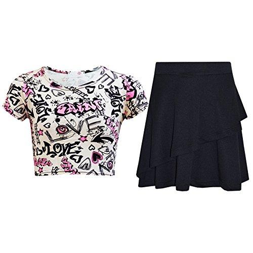 Girls Tops Kids Love Paris NYC #SELFIE Crop Top & Double Layer Skater Skirt 7-13 by A2Z 4 Kids® (Image #3)