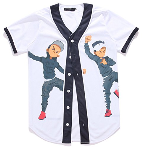 HOP FASHION Youth Unisex Boy Girl Baseball Jersey Short Sleeve 3D Cartoon Dancer Print Dance Team Uniform Tops Shirt HOPM007-08-M