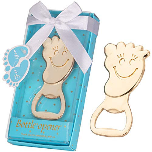 16 Pcs Baby Shower Favors for Boy Footprint Bottle Openers with Individual Gift Package, Baby Boy Newborn 1st 2nd 3rd Birthday Keepsake Creative Return Gifts Party Decoration (Footprint, Blue)