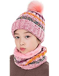 LCZTN Kids Winter Pom Beanie Hat Scarf Set for 5-14 Year Girls Warm Knitted Fleece Lining Slouchy Skull Cap (Pink)
