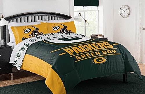 Green Bay Packers NFL Full/Queen Comforter & Pillow Sham (3 Piece Bedding Set) + Homemade Wax Melts - Green Packers Piece 3 Bay