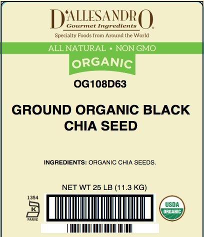 Ground Organic Black Chia Seed, 25 Lb Bag