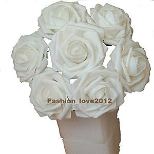 50 pcs Artificial Flowers Foam Roses for Bridal Bouquet Bouquets Wedding Centerpieces Kissing Balls (White)