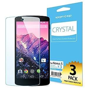 SPIGEN Google Nexus 5 Screen Protector Clear [Crystal] [3-PACK] **Base PET Film made in Japan** Premium Front Screen Protector f