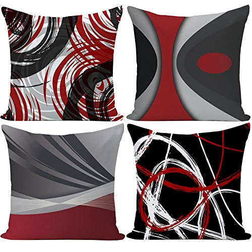 EZVING Set of 4 Throw Pillow Covers Modern Abstract Red Stripes Gray Black White Acrylic Bold Grey Decorative Pillow Cases Home Decor Square 18x18 Inches Pillowcases (Pillows And Grey Red)