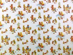 Papel de pared estampado con ositos de peluche de picnic en miniatura para casa de muñecas escala 1:12 para habitación de niños