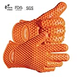 Aboden Silicone Heat Resistant Grilling BBQ Gloves for Cooking, Baking, Smoking & Potholder , Pack of 2, Orange
