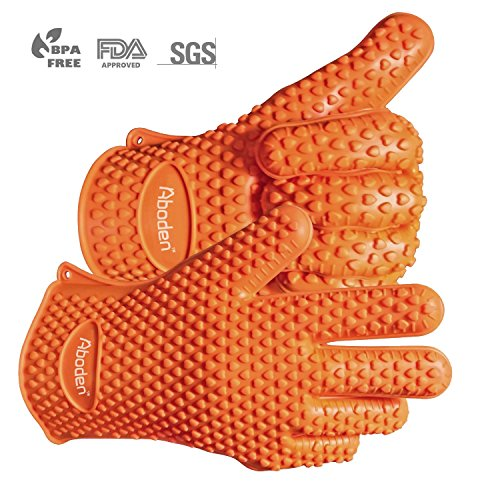 Aboden Silicone Heat Resistant Grilling BBQ Gloves for Cooking, Baking, Smoking & (Orange Standard Wing)