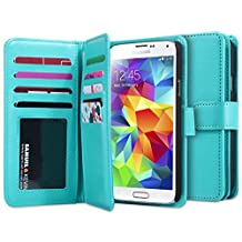 Galaxy S5 Case, Jwest Galaxy S5 Wallet Luxury Fashion Pu Leather Magnet Wallet Credit Card Holder Flip Case Cover with Built-in 9 Card Slots for Samsung Galaxy S5 / Galaxy SV I9600 (Blue)