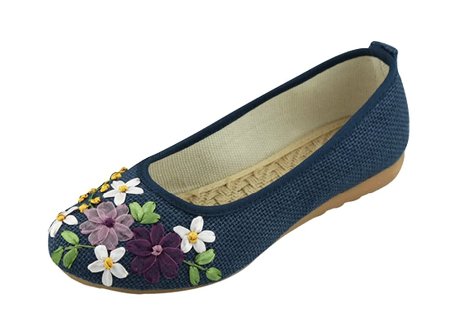 T&Grade Women Comfortable Linen Embroidery National Style Low Top Dancing Performance Flat Shoes