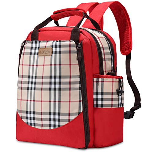 HaloVa Diaper Bag, Baby Nappy Backpack, Trendy Travel Crossbody Bag, Large Maternity Infant Nursing Shoulder Bag, Foldable Baby Changing Pad and Insulated Milk Bottle Pocket, Red ()