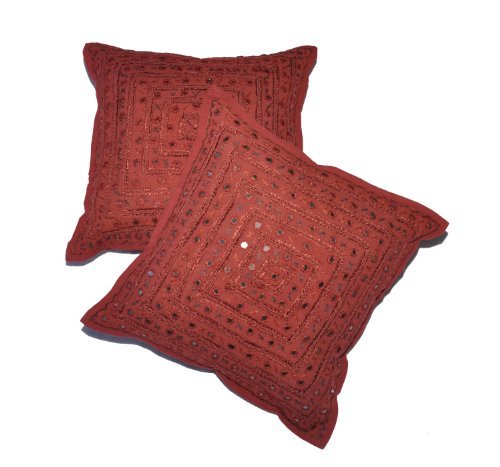 (BEAUTIFUL 2 Pcs Mirror Work Embroidery Indian Sari Throw Pillow Toss Cushion Covers by NANDNANDINI)