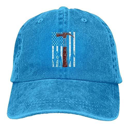 Brand Caps Wood American Carpenter Flag Adjustable Unisex Curved Denim Hat - Logo Carpenter Jeans