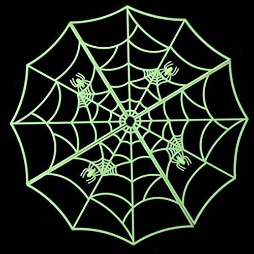 Binmer(TM) Halloween spider web luminous PVC home bar decoration sticker