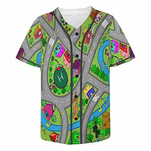(INTERESTPRINT Men's Button Down Baseball Jersey Short Sleeve Shirt Road 3XL)