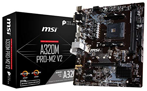 MSI ProSeries AMD A320 Ryzen 1st and 2ND Gen AM4 DDR4 HDMI DVI VGA M.2 USB 3 Micro-ATX Motherboard (A320M PRO-M2 V2)