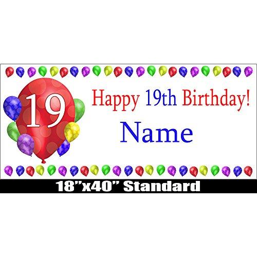 19TH BIRTHDAY BALLOON BLAST CUSTOMIZABLE BANNER by -