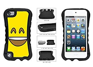 Bright Yellow Smiley Grin with Teeth Face 2-Piece Dual Layer Phone Case Back Cover Apple iPod Touch 5th Generation