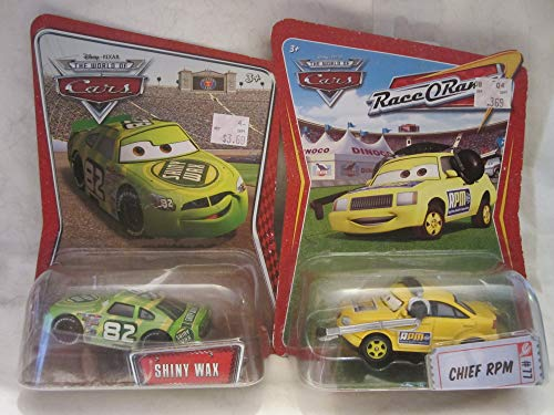 - Disney Pixar Cars - Shiny Wax & Chief RPM Die Cast 2 Car Set!
