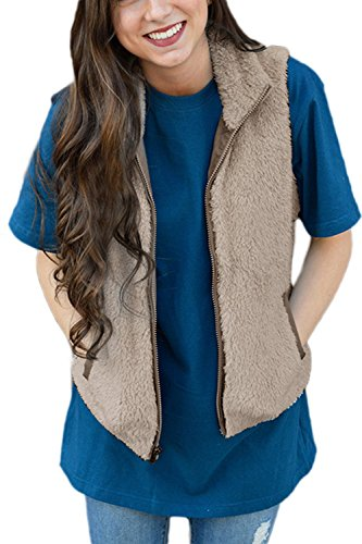 モーテル百科事典時YACUN 女性のベストフェイクファージップアップポケットジャケットスタンドカラージレ