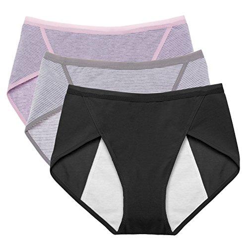 Intimate Portal Women Cotton Fresh Leak Proof Period Menstrual Panties 3-PK Black Pink Gray (3 Pack Intimates Panties)