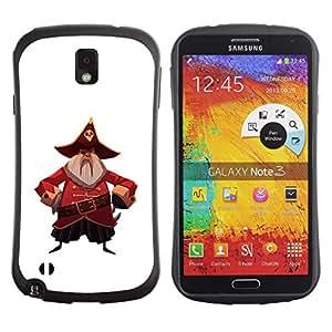 LASTONE PHONE CASE / Suave Silicona Caso Carcasa de Caucho Funda para Samsung Note 3 N9000 N9002 N9005 / Pirate Captain Hat Skull Belt Beard Grey