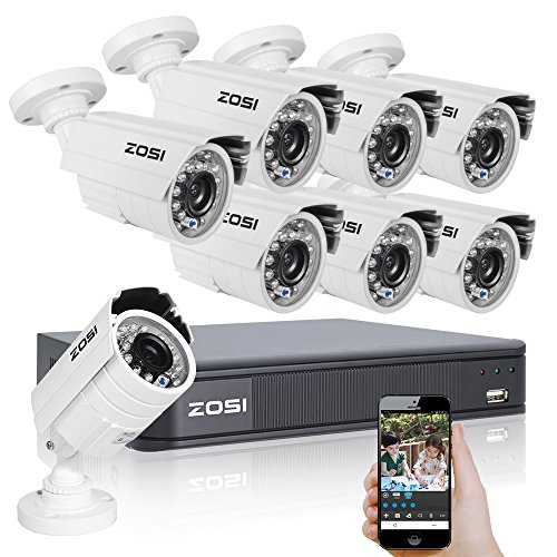 ZOSI-8CH-720P-AHD-Security-CCTV-System720P-AHD-DVR-8-Packs-Weatherproof-Long-Night-Vision-1280TVL-Security-Cameras-SystemPlaybackRmote-AccessAlarmNo-Hard-Disk-Included