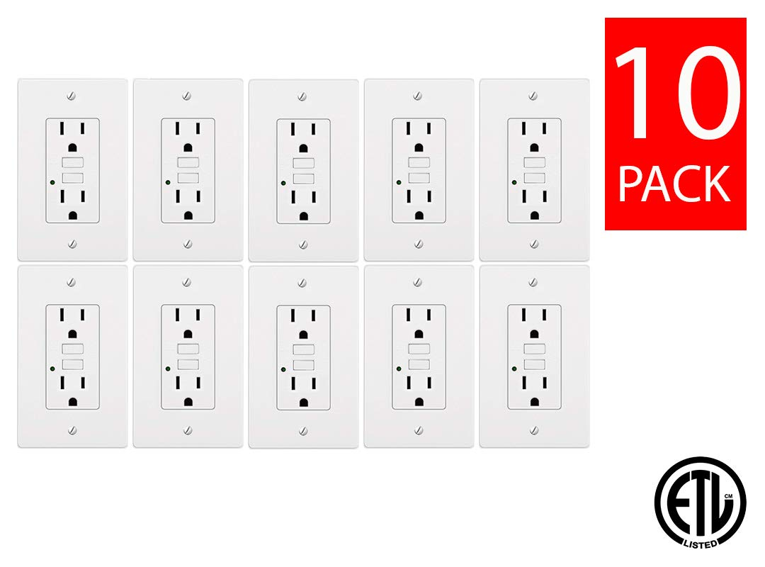 Teklectric - GFCI Receptacle 15A 125V + Free Wall Plate - GFCI Outlet 15 AMP 125 VOLT Wall Plate Included (15A GFCI 10 Pack)
