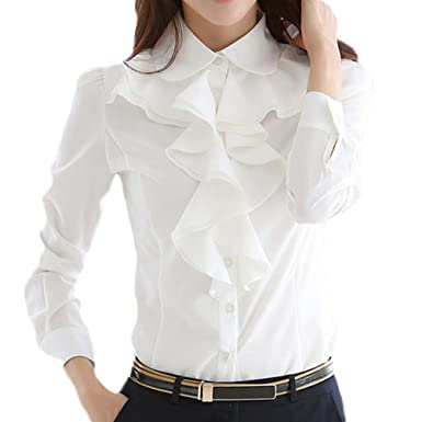 12e21207816589 Nanxson Women's Formal Long Sleeve Stand Lace Collar Vintage Shirt Blouse  CSW0034