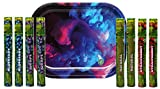 Mini Rolling Tray (Color Swirl), Cyclone Pre Rolled Cones (2 Packs of 4 Flavors) - 9 Item Bundle