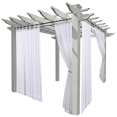 NICETOWN Outdoor Curtain Panel with Rope Tieback Fade Resistant Tab Top Indoor Outdoor Sheer Voile Drape with Rope Tieback (1 Piece, 54 x 96 Inch in White) (Voile Tab Top Curtain Panel)