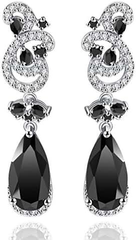 Lady Earrings AAA Cubic Zirconia Rhodium Plated Teardrop Flower Party Evening Jewelry Dangle Earrings