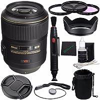 Nikon AF-S VR Micro-NIKKOR 105mm f/2.8G IF-ED Lens + 62mm 3 Piece Filter Set (UV, CPL, FL) + LENS CAP 62MM + 62mm Lens Hood + Cloth + Pouch Bundle