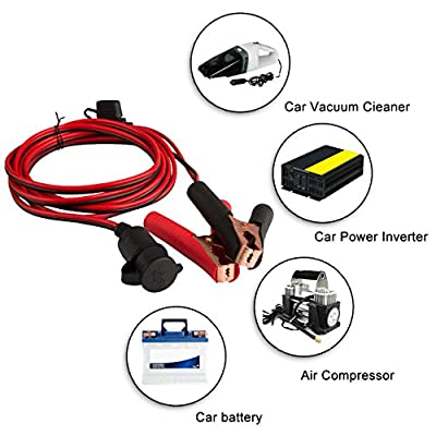 DEDC Battery Clip On Plug Socket 3m/10FT 12V/24V Cigarette Lighter Adapter Cable with Fuse Holder for Car Battery Portable Air Compressor Power Inverter 1Pc: Automotive