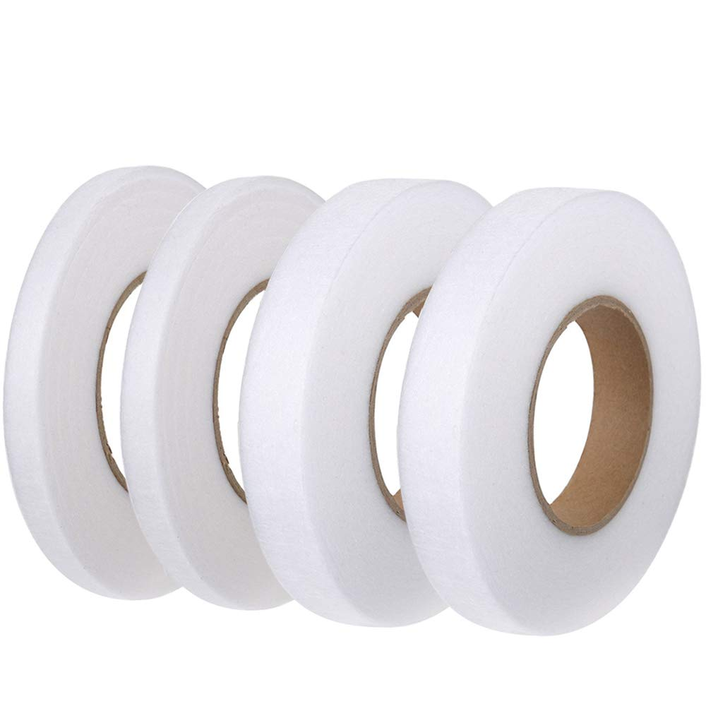 FJSM 4 Rolls 70 Yards Fabric Iron Fusing Tape White Double Sided Hem Seam Tape No Sew Fusible Hemming Tape 10mm 20mm for Clothes Curtain Pants Jeans Skirts Dresses