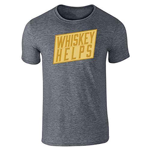 Pop Threads Whiskey Helps Dark Heather Gray XL Short Sleeve T-Shirt (Cask Single Malt)
