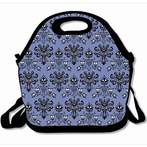 Ahawoso Reusable Insulated Lunch Tote Bag Eerie Eyes Haunted Mansion Style 10X11 Zippered Neoprene School Picnic Gourmet Lunchbox