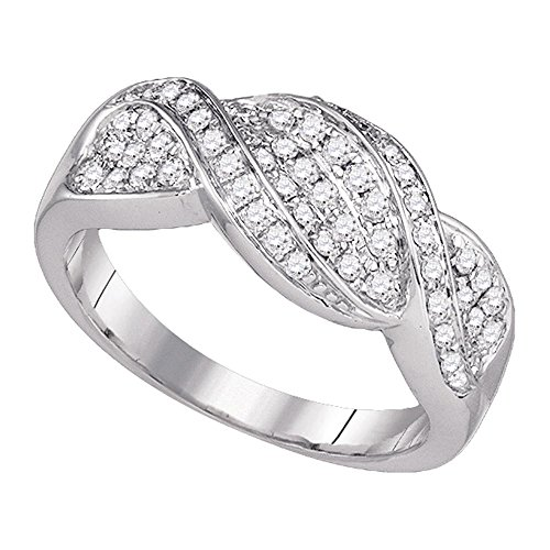 14k White Gold Diamond Crossover Ring Twisted Fashion Band Round Pave Set Polished Fancy 1/2 ctw Size 7 (Pave Band Twisted)
