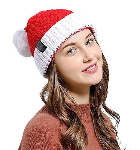 Fit Design Santa Hat Christmas Beanie Winter Hats for Women Pom Pom Knitted Ski Knit Warm Slouchy Skull Caps(Red & White) -