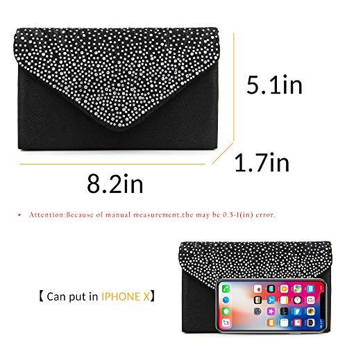 Milisente Purse Bag Satin Classic Black Envelope Glitter Women Bags Clutch Clutch Evening w7frwY