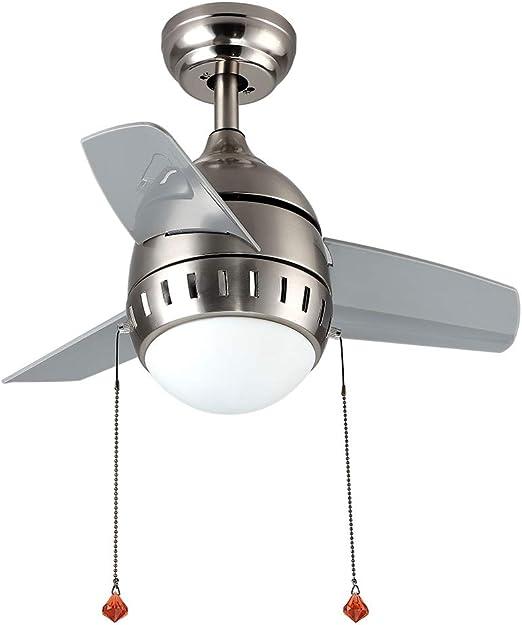 Etelux Ventilador de techo interior con montaje empotrado de níquel de 26 pulgadas con kit de luz (3 cuchillas): Amazon.es: Iluminación