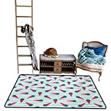 Non-Slip Floor mat,Scandinavian Design Cartoon Cones with Geometrical Toppings on Stripes 4'x6',Can be Used for Floor Decoration