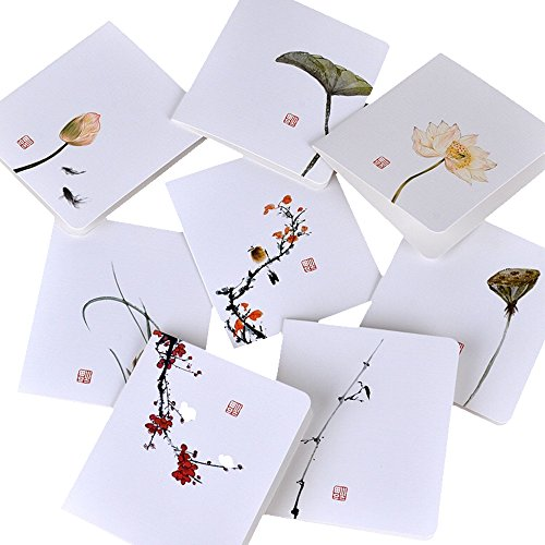 Featuring Hand-Drawn Thank You Card:8pcs Assorted Blank All-Occasion Note Cards- Flowers And Birds Series Thank You Cards