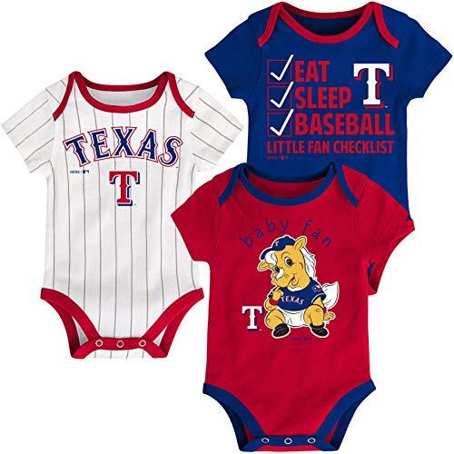 Outerstuff MLB Newborn Infants Play Ball 3 Piece Creeper Body Suit (24 Months, Texas Rangers) ()