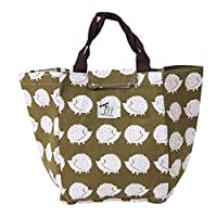 Waterproof Insulated Picnic Lunch Bag Aluminum Foil Insulated Cooler Bag Portable Tote Cooler Canvas Thermal Picnic Food Drinks Holder (Cute Hedgehogs)