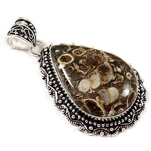 GoyalCrafts Turritella Fossil Agate Natural Gemstone Pendant Silver Plated Jewelry GPU93