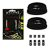 Xpand No Tie Shoelaces System with Elastic Laces - One Size Fits All Adult and Kids Shoes (Black)