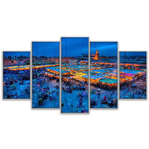 (Bzdmly 5 Canvas Paintings Modular Pictures Poster Framework Marrakech Square Poster Painting HD Print Kids Room Decoration-B )