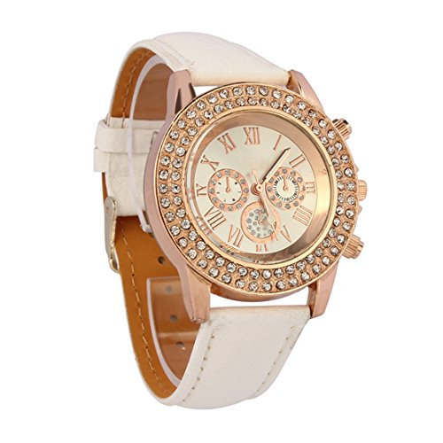 Coromose Women Crystal Decoration Dial Quartz Analog Leather Band Wrist Watch (White)